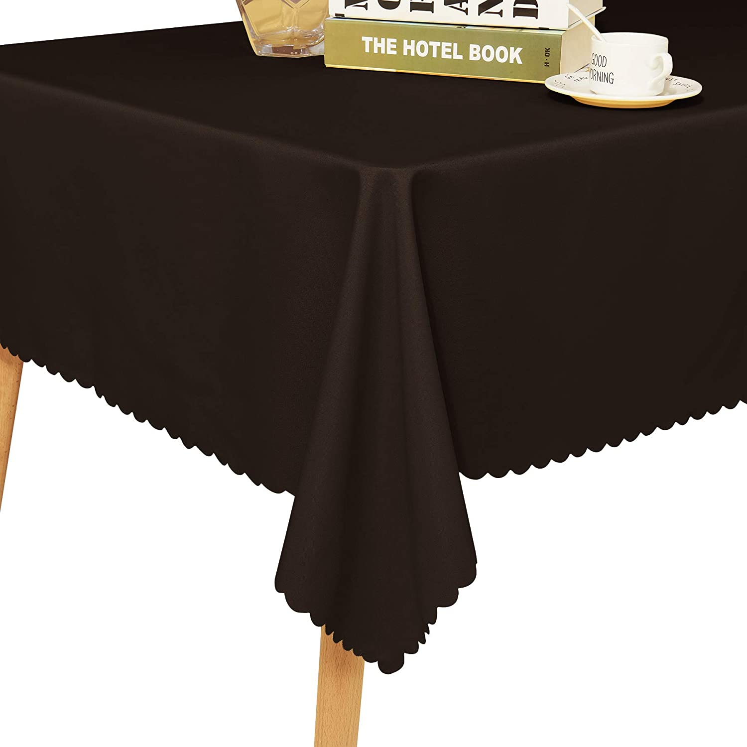 """Fassbel Table Cloth 100/% Polyester Rectangular Waterproof Table Cover for Dining Table Graduation Parties Fassbel TC 1 60/"""" x 126, Chocolate"""