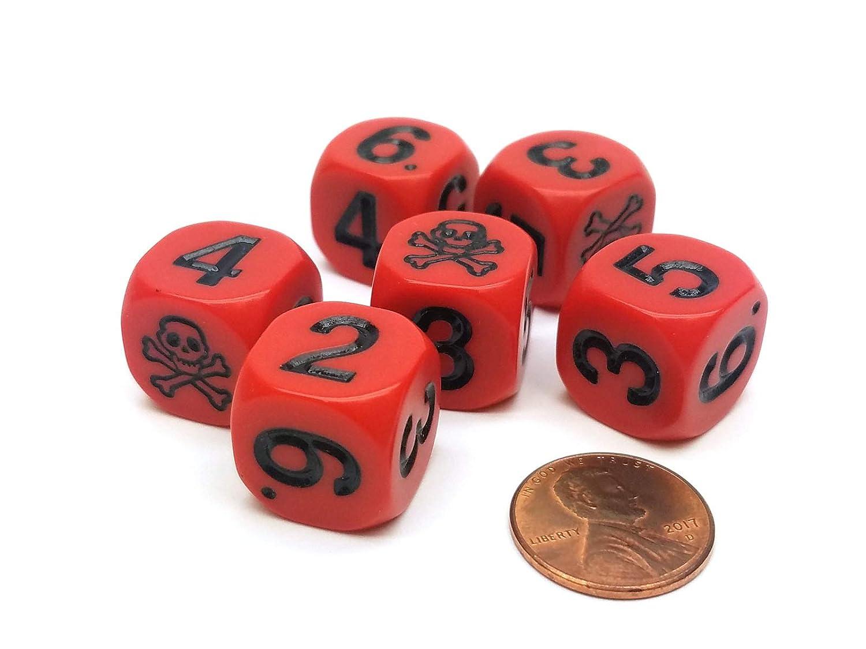 ウイスキー専門店 蔵人クロード Set of Numerical 6 Skull - and Crossbones 16mm Pips Numerical Dice - Red with Black Pips B00WH2HADY, メイワマチ:f66f36d1 --- irlandskayaliteratura.org