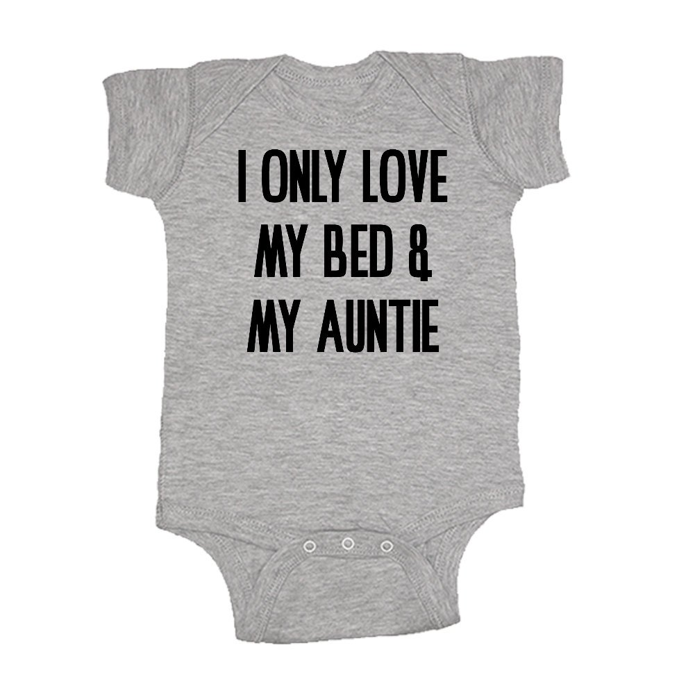 Mashed Clothing Unisex-Baby - I Only Love My Bed and My Auntie - Fun & Trendy - Baby Bodysuit (Sport Grey, Newborn) by Mashed Clothing (Image #1)