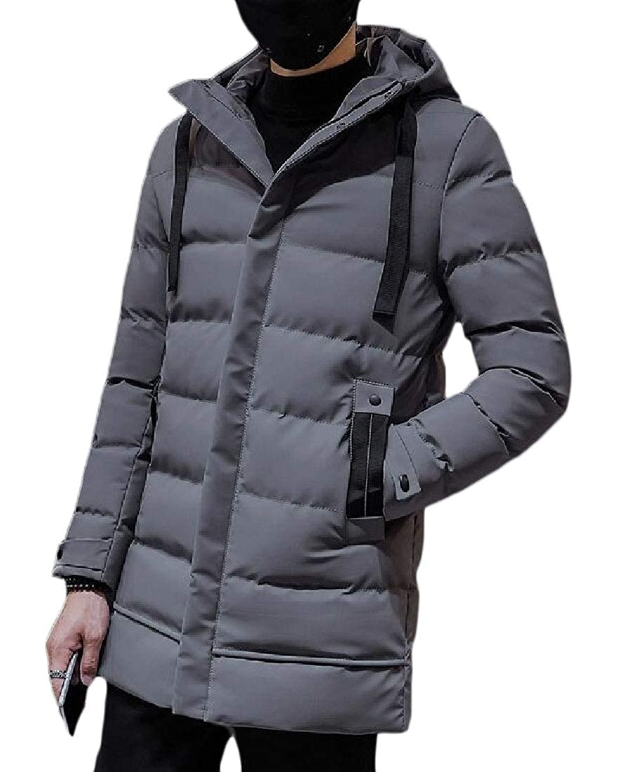 xiaohuoban Mens Thicken Hoodie Slim Quilted Winter Long Sleeved Down Outwears