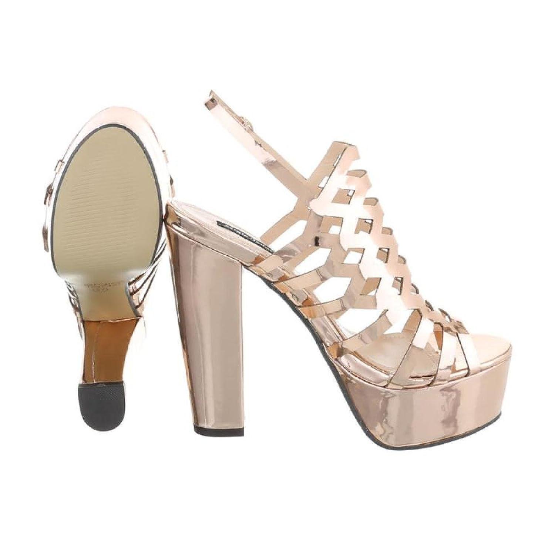 Cingant Woman Damen Sandalette/Plateausohle/Sommerschuhe/Damenschuhe/Elegante Damenschuhe/High Heels/Champagner/Gold, EU 38