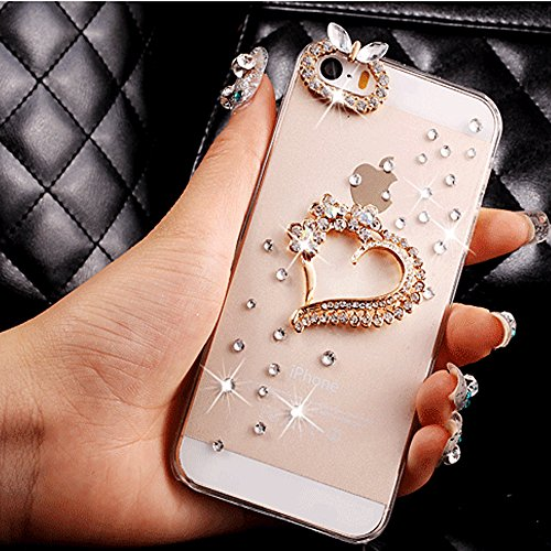 iPhone 7 Plus Case,HAOTP(TM) 3D Handmade Bling Crystal with Shiny Sparkle Rhinestone Diamonds Design Clear Soft TPU Cover Case for iPhone 7 Plus [5.5 …