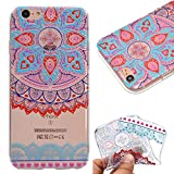"""Case for iPhone 8 Plus 5.5"""",Cover for iPhone 7 Plus 5.5"""",Leeook Fashion Creative Transparent Cute Blue Pink Mandala Flower Pattern Design Soft Ultra Thin TPU Silicone Protector Back Rubber Clear Flexible Slim Bumper Shell Mobile Phone Case Cover for Apple iPhone 8 Plus/7 Plus 5.5"""" + 1 x Free Black Stylus"""