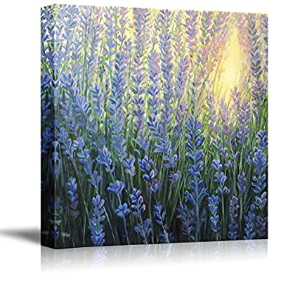 Canvas Prints Wall Art - A Violet Lavender Bush Blooming in The Last Rays of The Sun at Dusk in Oil Painting Style | Modern Wall Art Stretched Gallery Canvas Wraps Giclee Print & Ready 16