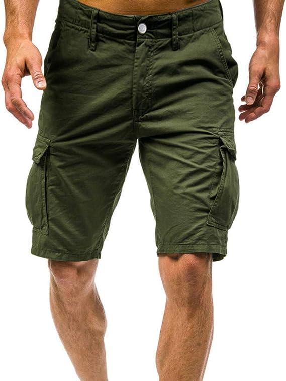 LUNULE Pantalones Cortos de Trabajo Hombre Verano Bermudas Hombre ...