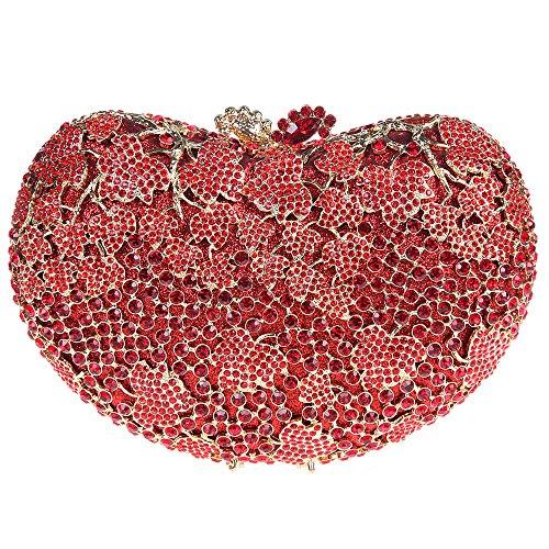 Fawziya Heart Shape Kiss Lock Clutch Purses For Women Handbags Brands-Red