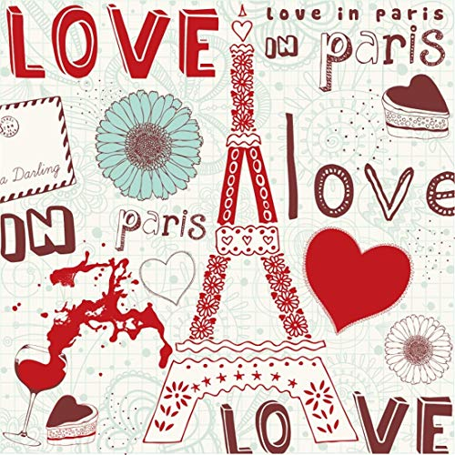 Yeele 5x5ft Photography Backdrop Valentine's Day Love Wedding Eiffel Tower Red Wine Glass Chocolate Cake Postcard Red Love Heart Photo Background Happy Valentine's Day Studio Props