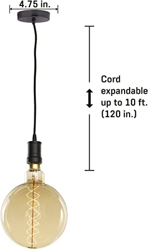 Bulbrite Contemporary Collection Hanging Pendant Kit, Black with Black Cord