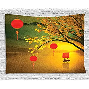 Lantern Decor Tapestry by Ambesonne, Traditional Chinese Lanterns Hanging from Pale Fall Trees over the Lake Faded Nature Photo, Wall Hanging for Bedroom Living Room Dorm, 80 X 60 Inches, Multicolor