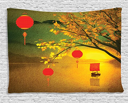 Lantern Decor Tapestry by Ambesonne, Traditional Chinese Lanterns Hanging from Pale Fall Trees over the Lake Faded Nature Photo, Wall Hanging for Bedroom Living Room Dorm, 60 X 40 Inches, Multicolor