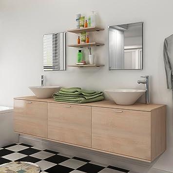 Amazon.de: Festnight 8-teiliges Badezimmer- Mobiliar ...