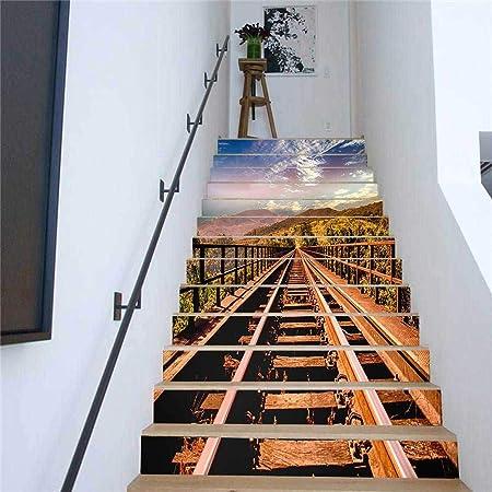 Pegatinas de escaleras de bricolaje, 13 piezas de vías de tren impresas en 3D Pegatinas de escalera autoadhesivas Pegatinas de pared extraíbles Decoración del hogar para el dormitorio y la sala de: