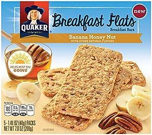 Quaker Breakfast Flats, Banana Honey Nut, Breakfast Bars 5 Pouches, 3 Bars in Each Pouch, 1.41 oz