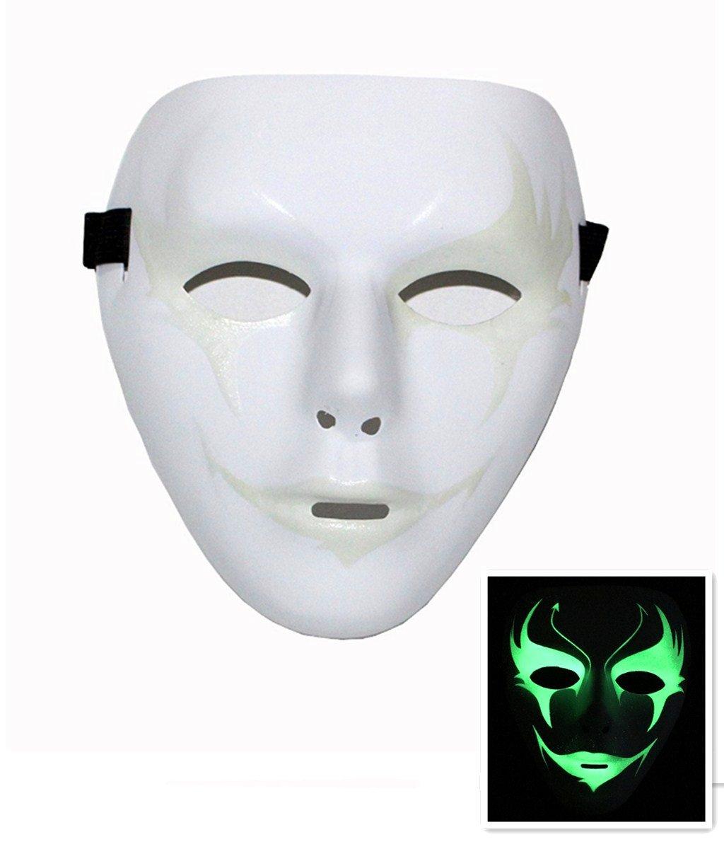 VStoy Halloween / Masquerade / maschera dipinta a mano bianca / maschera hip-hop / maschera horror / maschera luminosa (bianco)