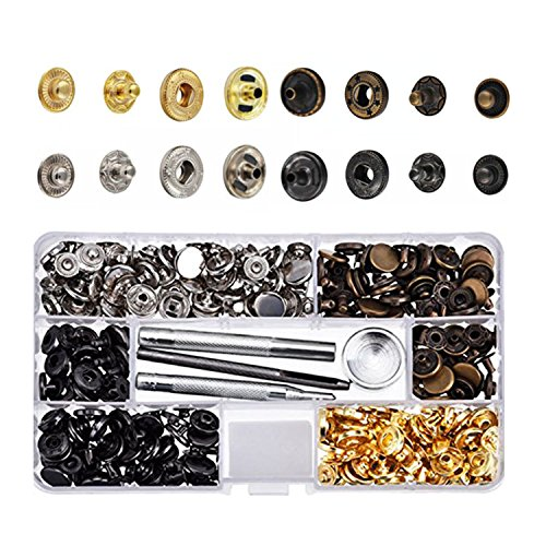 Fantastic Deal! 80 Set Snap Fasteners Snaps Button Press Studs with 4 Pieces Fixing Tools,4 Colors f...