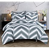Chic Home 3-Piece Piper Chevron Printed Reversible Duvet Cover Set, King, Grey