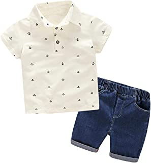 AIKSSOO 2Pcs Toddler Boys Outfit Set Kids Clothes Anchor Polo Shirt+Denim Shorts