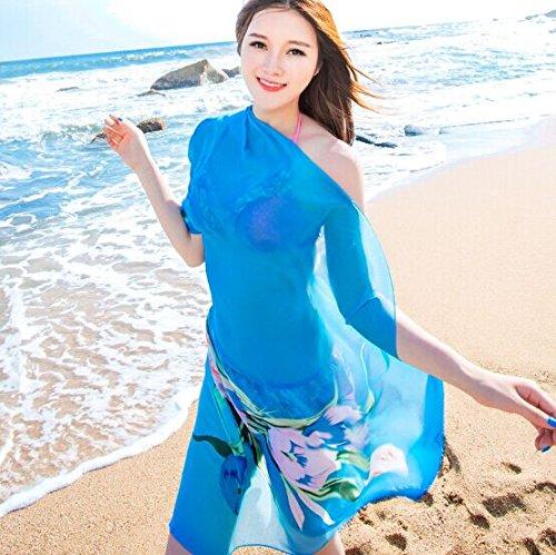gloednApple Sunscreen Scarf Bikini Cover Up Swimsuit Beach Towel Dress Skirt Chiffon (Chiffon Twist Dress)