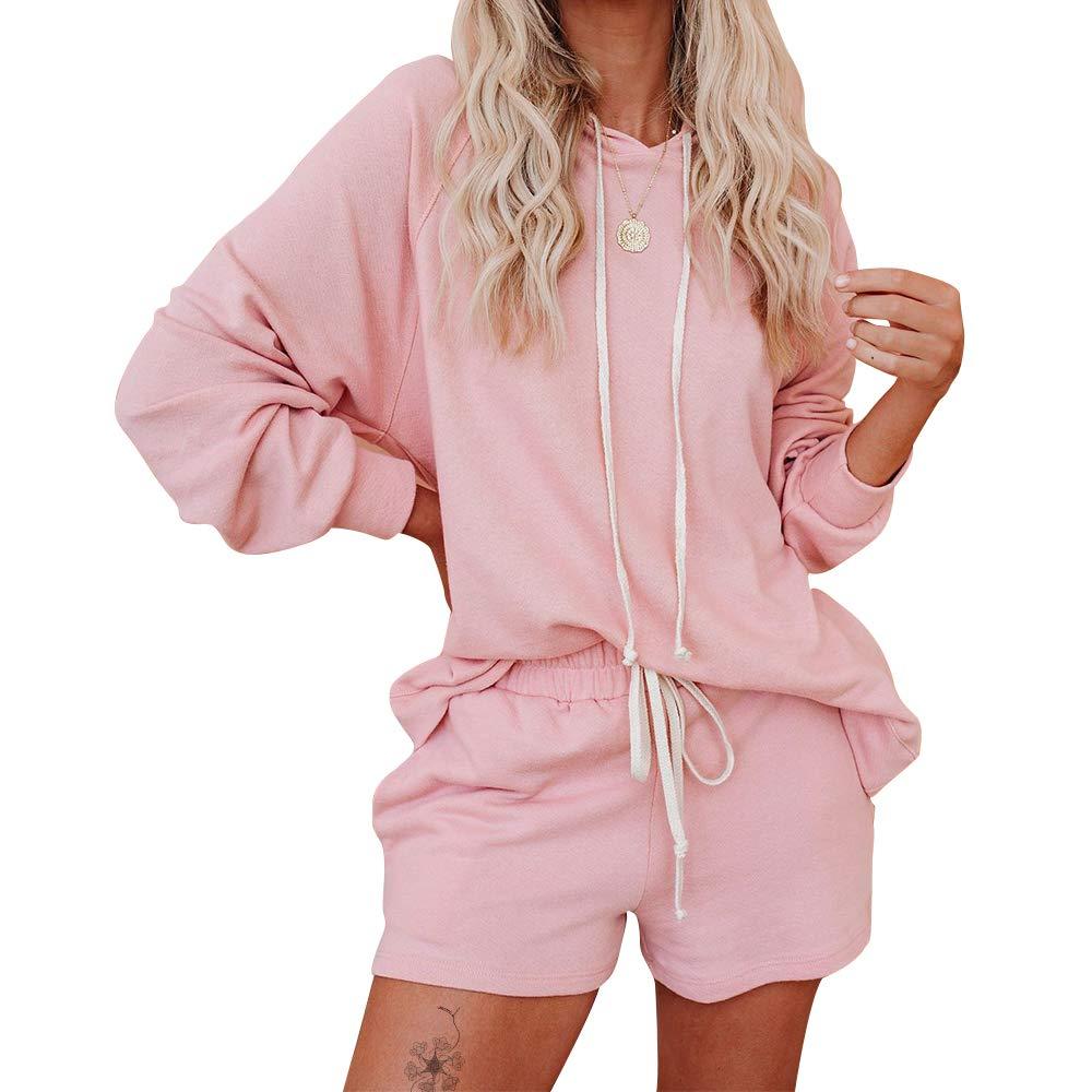Exlura Womens Casual Long Sleeve Solid Hoodie Pullover Sweatsuit 2 Piece Loungewear