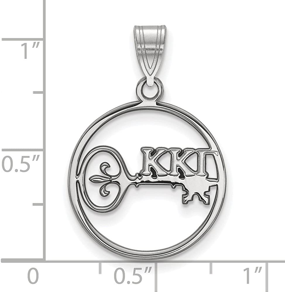 Solid 925 Sterling Silver Official Kappa Kappa Gamma Medium Circle Pendant Charm 25mm x 18mm