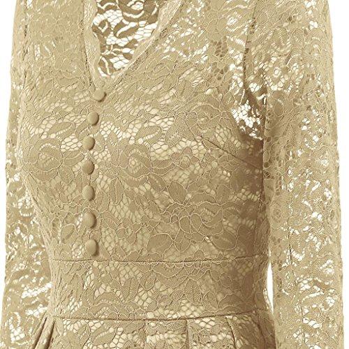 für Beige Kleid Oyedens Damen Kleid Abendkleider Festlich Abendkleider Swing Partykleid Ärmellos mit Cocktailkleid Kleid Rockabilly damen fI8ZIw