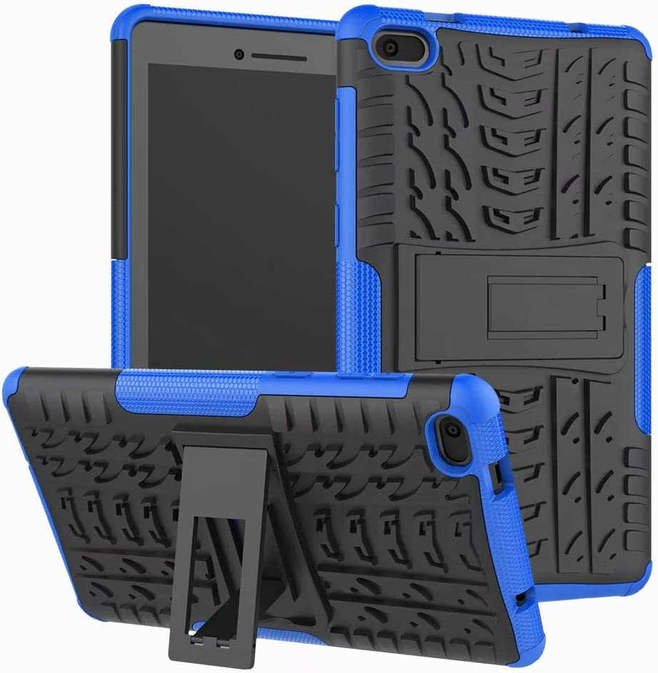 Lantier Hybrid Armor Shockproof Impact Protection Tough Hard Rugged Heavy Duty Combo Dual Layer Protective Case with Kickstand for Lenovo TAB E7 7 Inch 2018 Blue