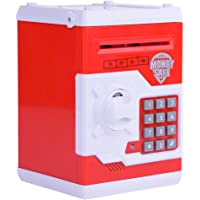 Cash Coin Piggy Bank, Electronic Mini ATM Saving Safe Box Money Cash Coin Deposit Safer for Kids Toy Gift Battery Powered Password with Voice
