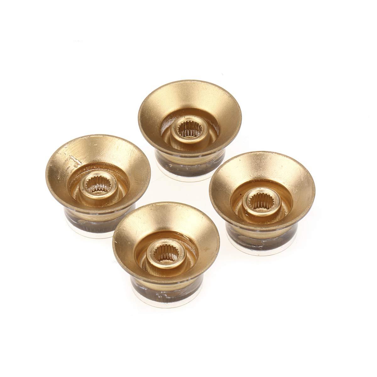Musiclily Pro Tama/ño M/étrico 18 Splines Botones de Potenci/ómetros Reflector 2 Volumen 2 Tono Perillas Set para Asia Import Guitarra o Bajo Split Shaft Pots Oro con Oro Top