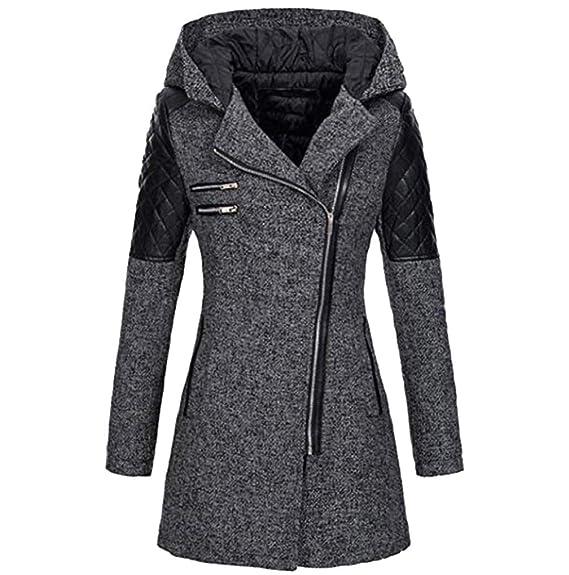 FNKDOR Manteaux à Capuche Femme d hiver Chaud Veste Zippé Col Revers  Blouson Épais Slim 163c9b8d7f8