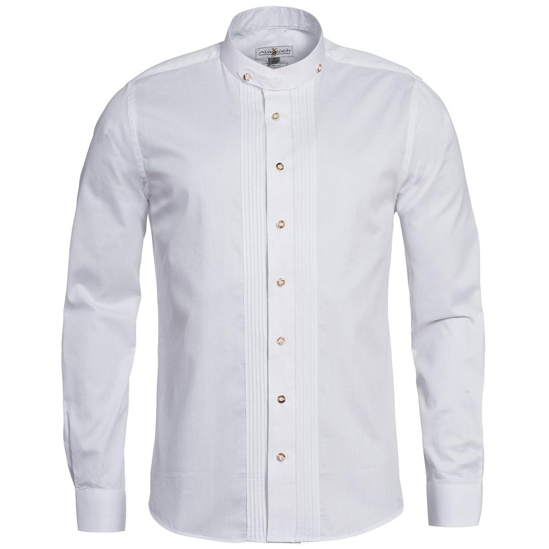 Trachtenhemd Slimline mit Biesen in Weiß von Almsach