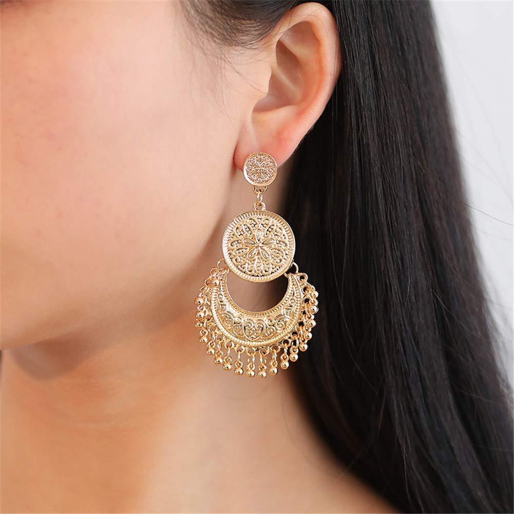 Bohemian Crescent Moon Sun Earrings Geometric Carved Circle Disc Beads Tassel Dangle Earrings Stud Ear for Women Girls Jewelry
