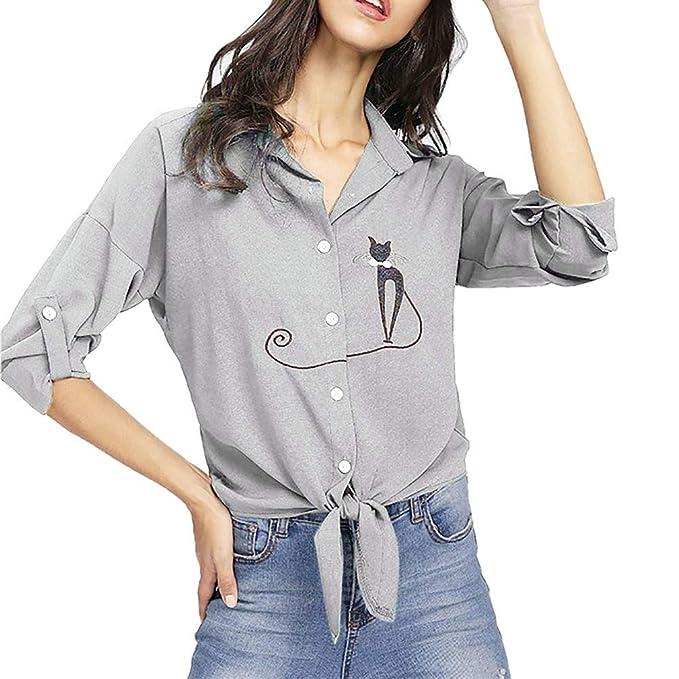 Feixiang❤ Camisa de Dobladillo Anudada de Gato con Bordado de ...