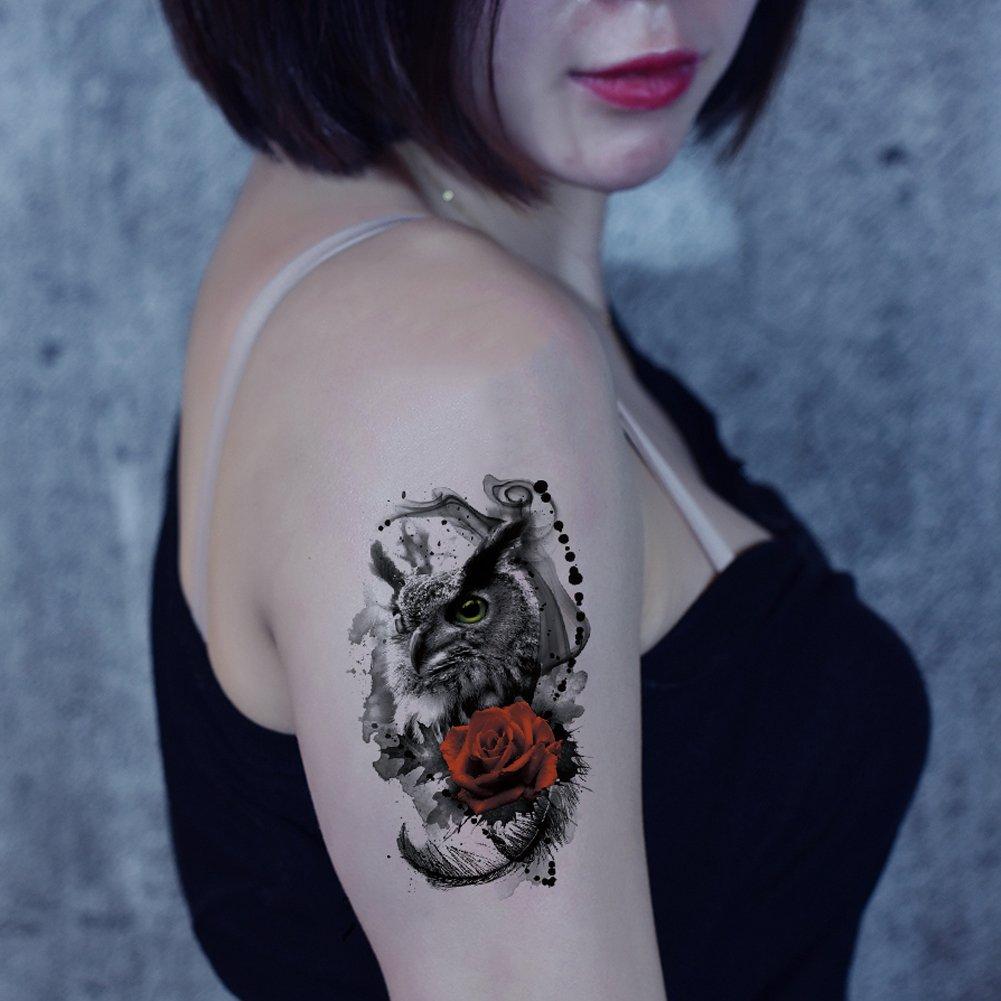 Tatuaje temporal, impermeable, diseño de búho negro y rosa roja de ...
