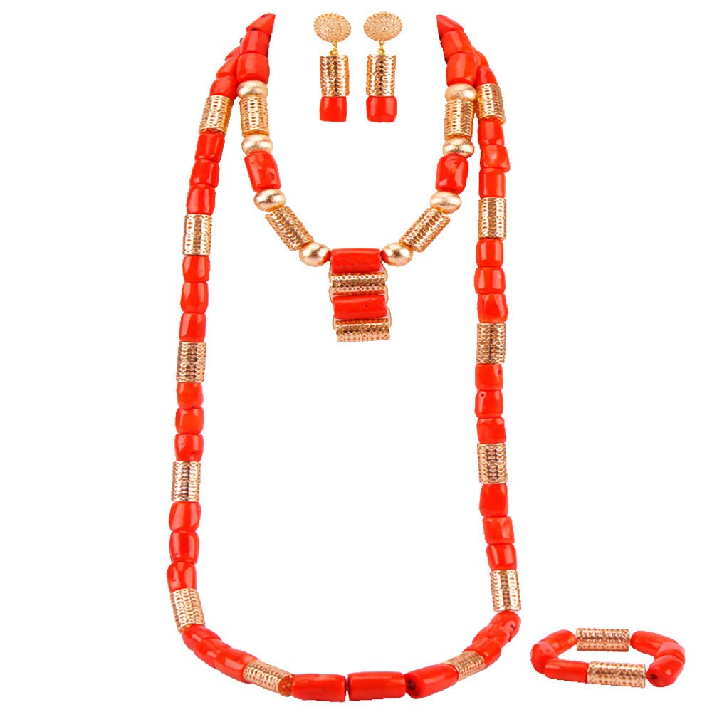 laanc Handmade Folk Fashion High Grade Orange Coral Beads JewelrySets Necklace Bracelet Earrings African Nigerian Wedding