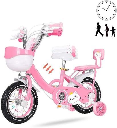 OFFA Bicicleta Niño 12 14 16 18 20 Inch Girls Bicicletas Niños for 2-10 Años Los Niños De La Bicicleta con Ruedas De Entrenamiento Y De Canasta, Doble Freno, Niño Princesa Estilo Rosa: Amazon.es: Hogar