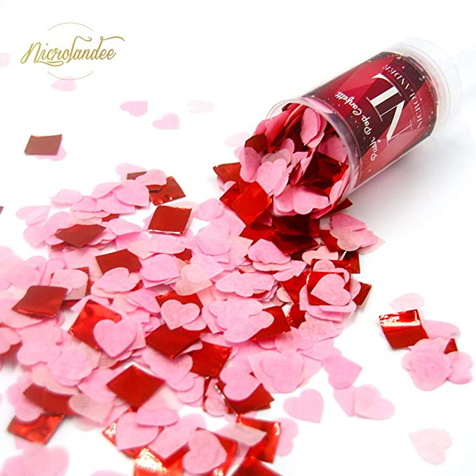 NICROLANDEE 4 UNIDS Empuje Pop Confetti Poppers Rojo y Rosa Boda Confeti en forma de coraz/ón para el D/ía de San Valent/ín Fiesta de Cumplea/ños decoraci/ón
