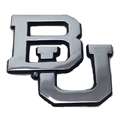 Baylor University Bears Chrome Plated Premium Metal BU Emblem Car Truck Motorcycle NCAA College Logo: Automotive