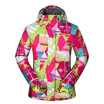 Zjsjacket Traje de Esqui Chaquetas de Snowboard y esquí Mujer Impresión Colorida Abrigos para la Nieve