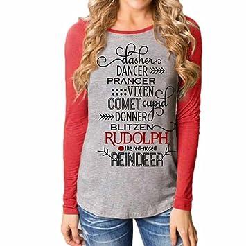 Camisetas de Invierno de Navidad para Mujer, LILICAT Blusa Tops Casual de Manga Larga y