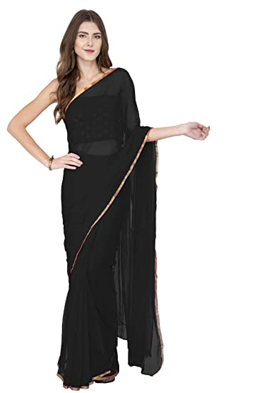 bc40bf5edcb237 Lime Plain Chiffon Black Saree With Blouse Piece For Women (Free Size)