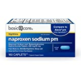 Amazon Basic Care Naproxen Sodium PM, 220 mg/ Diphenhydramine Hydrochloride, 25 mg Tablets, Pain Reliever (NSAID…