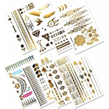 Metallic Temporary Tattoos, PrettyDate 150+ Boho Designs in Gold Silver Black, Fake Glitter Jewelry Tattoos- Bracelets, Necklaces, Wrist, Anklets and Armbands(8 Sheets)