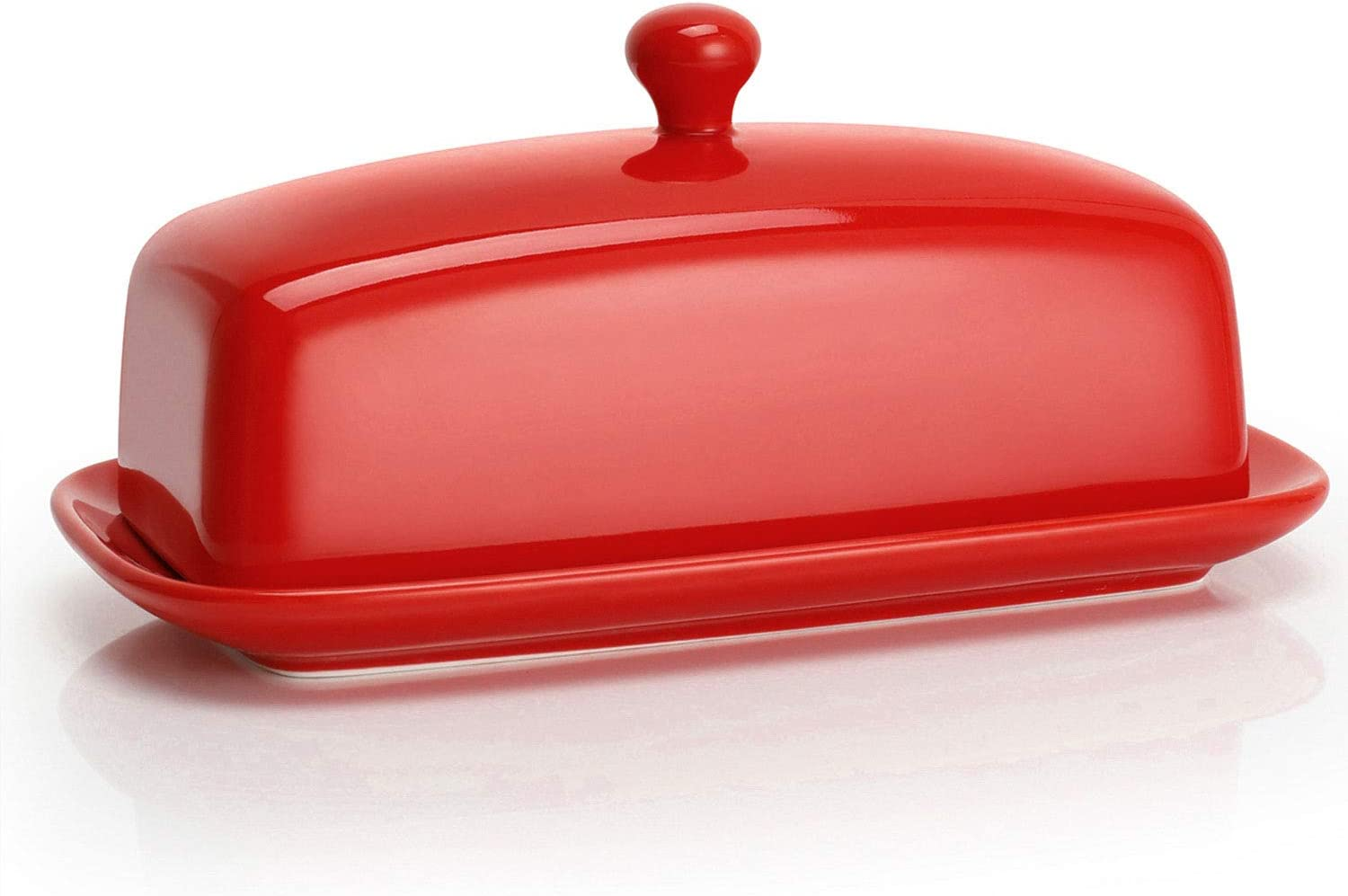 Sweese 8.8 Porcelain Butter Dish with Lid, Perfect for East West Coast  Butter, Red