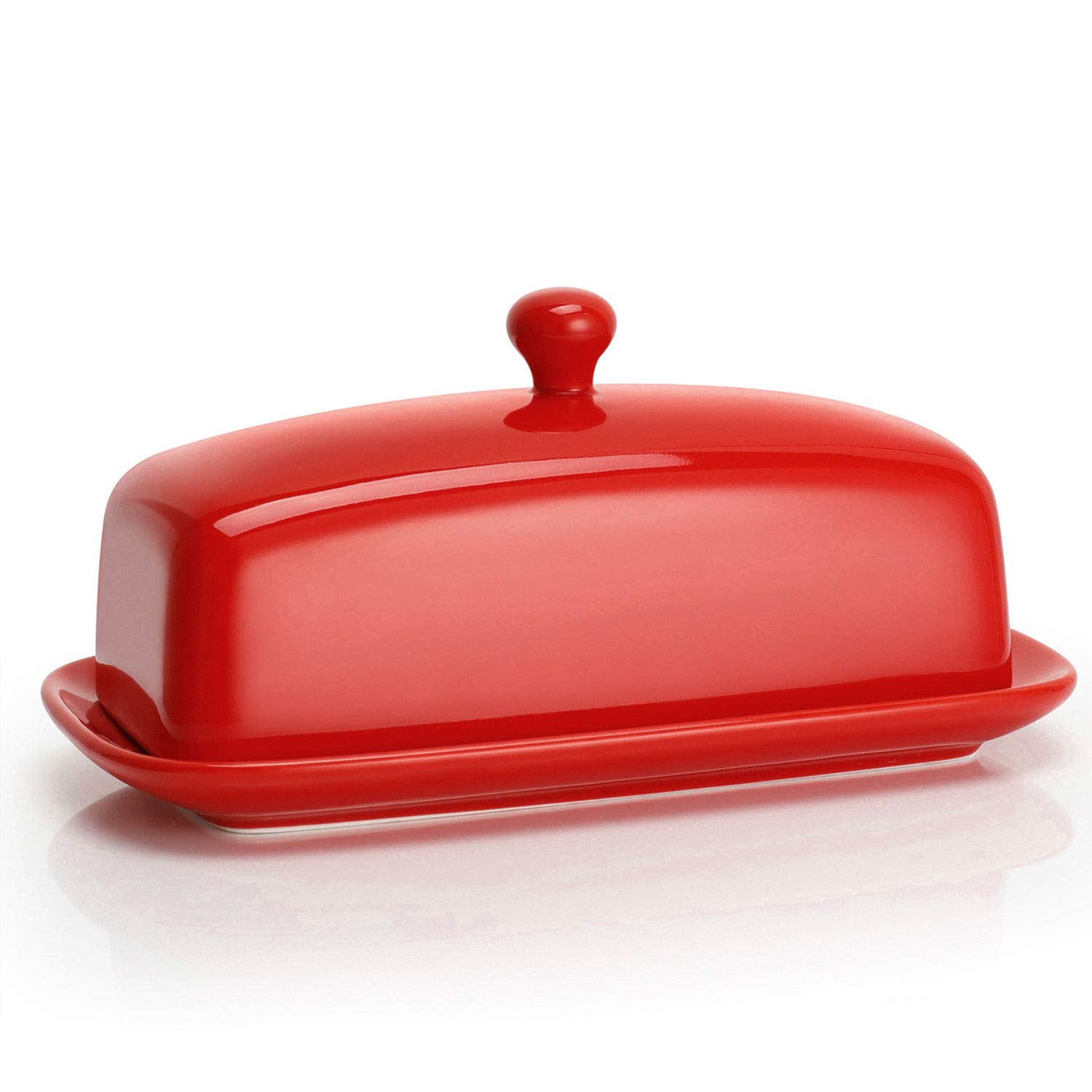 Sweese 307.104 Porcelain Butter Dish with Lid, Perfect for East West Coast Butter, Red