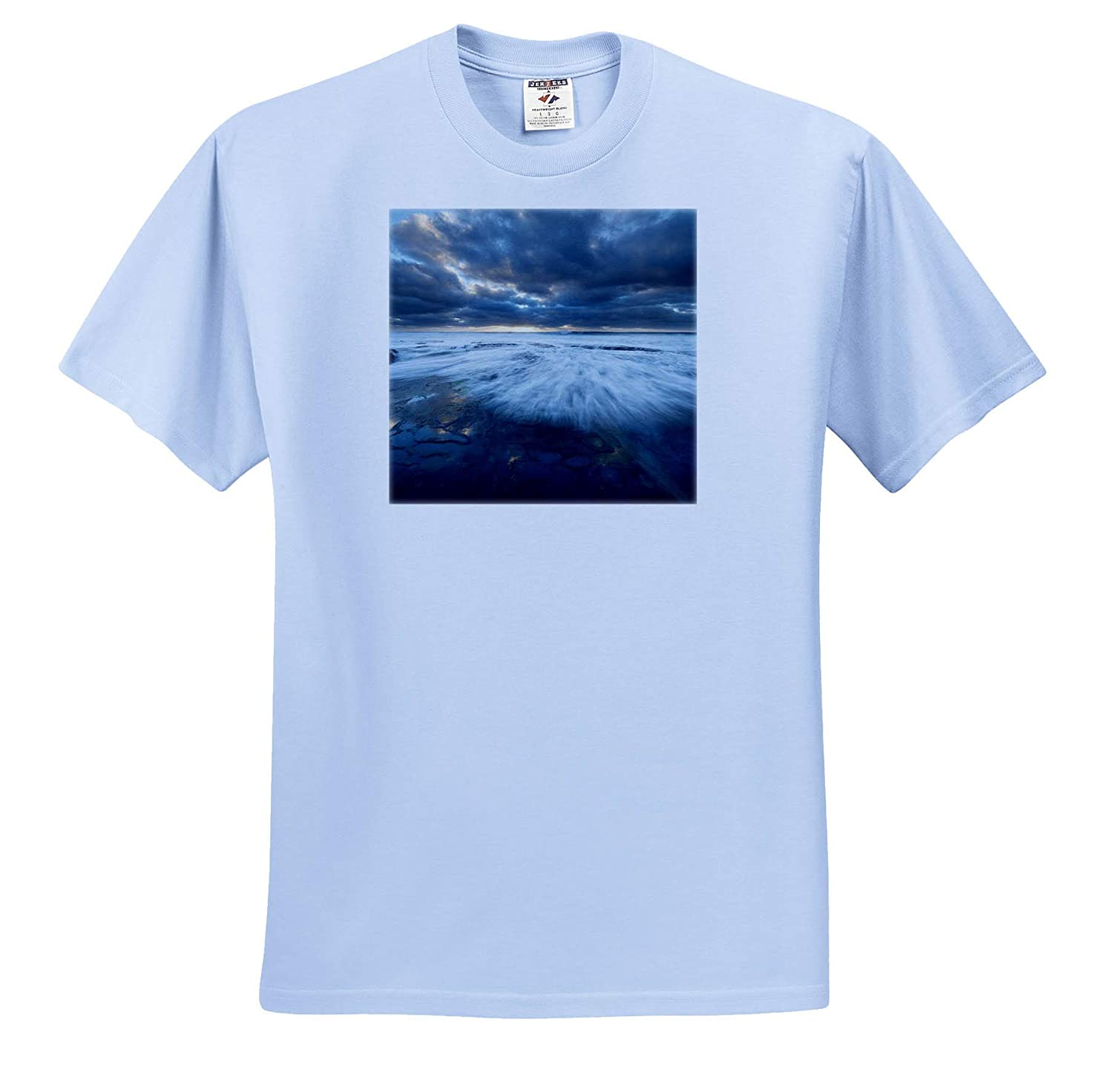 ts/_314642 USA - Adult T-Shirt XL La Jolla California 3dRose Danita Delimont Wave Washes Over Tide Pools Seascapes
