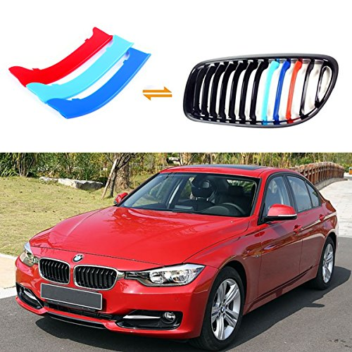 Jackey Awesome Exact Fit///M-Colored Grille Insert Trims For 2009-2012 BMW E90 E91 3 Series 325i 330i 335i 328i Regular Kidney Grill (For BMW 2009-2012 3 Series,12 Beams)
