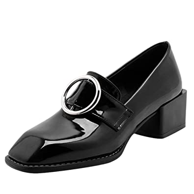 a1670a5fe7b1 Charm Foot Women s Square Toe Mid Heel Chunky Loafers Shoes (4.5