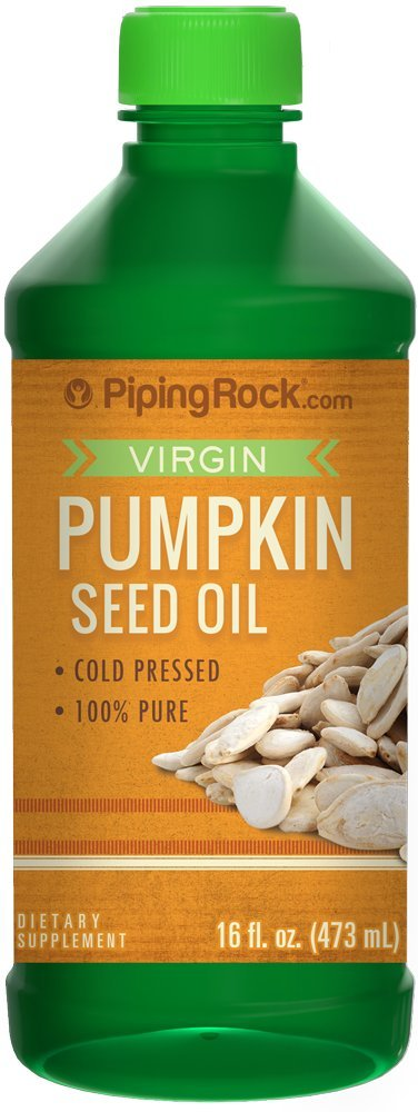 Piping Rock Virgin Pumpkin Seed Oil Cold Pressed 100% Pure 16 fl oz (473 mL) Bottle Dietary Supplement