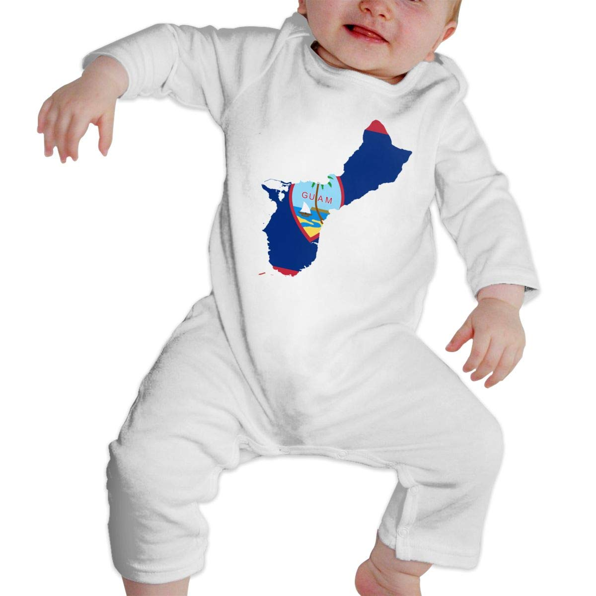 Fasenix Map of Guam Flag Newborn Baby Boy Girl Romper Jumpsuit Long Sleeve Bodysuit Overalls Outfits Clothes