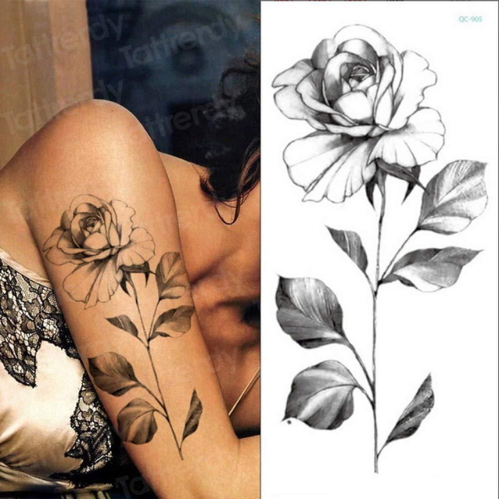 3ps-Tattoo pegatina flor negro rosa peonía dibujo tatuaje diseño ...